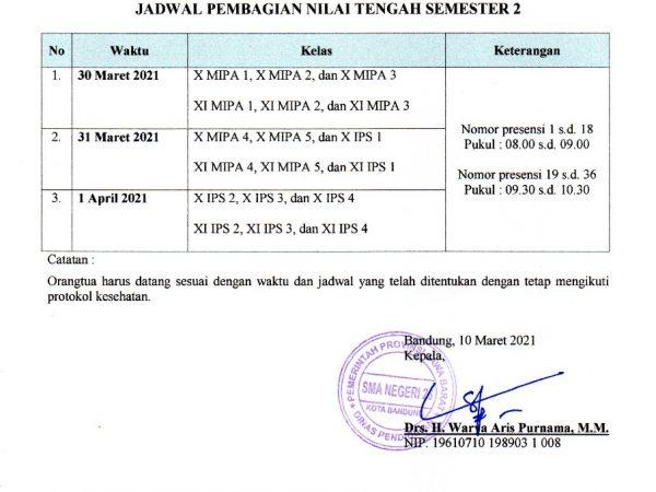 JADWAL PEMBAGIAN RAPOR TENGAH SEMESTER